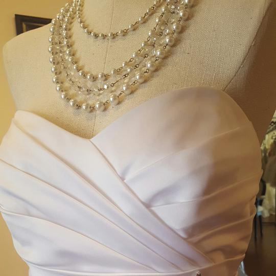 Alfred Angelo White Satin 8381 Casual Wedding Dress Size 10 (M)