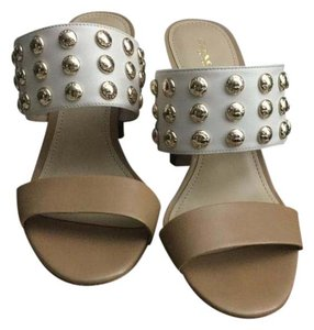 Coach Studded Leather Strappy Chunky Nude/Chalk Sandals