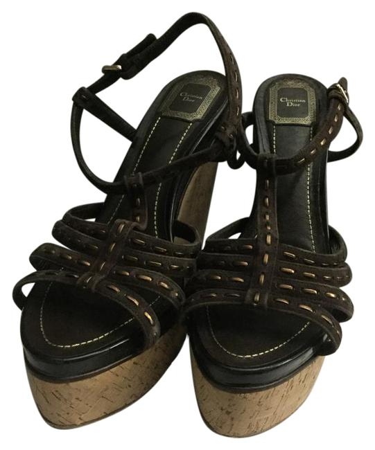 Dior Brown W/Metallic Antica Sandal Wedges Size US 10 Image 1