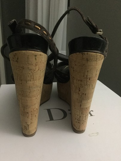 Dior Vintage Leather Patent Leather Spring Brown w/Metallic Wedges