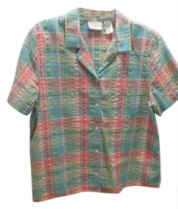 Alfred Dunner Button Down Shirt Green/blue plaid
