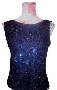 Xscape Out Sleveeless Top Black with Blue Sequin
