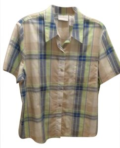 Alfred Dunner Button Down Shirt White,blue,green,beige plaid