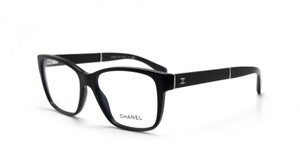 Chanel NEW Chanel 3310Q Black Oversized Rectangle Leather Eyeglasses Frames