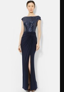Ralph Lauren Navy Jersey And Sequin Gown Dress