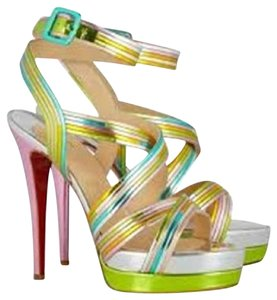 Christian Louboutin Strappy Meteorita Metallic Multicolor Sandals