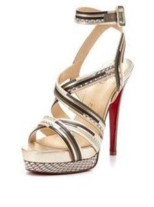 Christian Louboutin Strappy Meteorita Metallic Roccia Snake champagne, pewter, brown, cream, beige Sandals