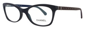 Chanel NEW Chanel 3287Q Navy Blue Cat Eye Leather Quilted Eyeglasses