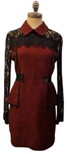 Red and Black Maxi Dress by Other Lace Plaid Steam Punk Punk