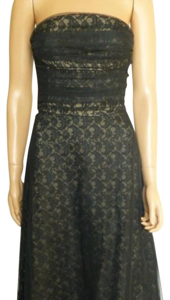 Bcbgmaxazria Black Bcbg Max Azria Strapless Lace Tulle Mesh Fit And