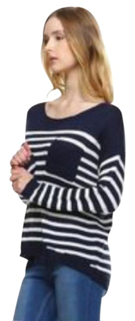 Preload https://img-static.tradesy.com/item/20816587/fate-blue-loose-knit-striped-nautical-sweaterpullover-size-4-s-0-1-650-650.jpg