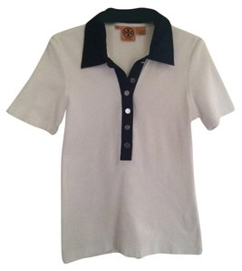 Tory Burch Polo Shirt Terrycloth Cotton Button Down Shirt white/navy
