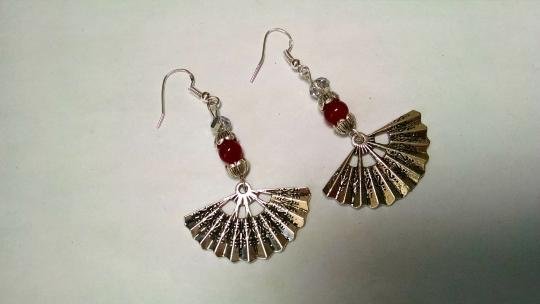Other New Fan Earrings Red Silver Dangle 2.5 Inches Long Crystals J720