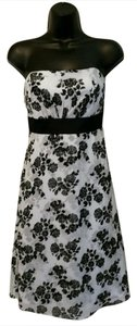 White House | Black Market A Line Strapless Rose Floral Print Dress