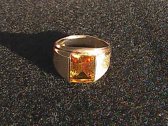 Uncas Co. Vintage Sterling & 10k Yellow Gold 3.0 cts Citrine Men's Ring