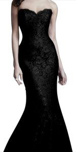 Black Satin With Black Lace 88408 Dress