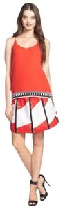 Vince Camuto Abstract Tribe Mini Skirt Red/white