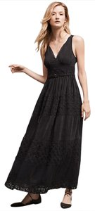Black Maxi Dress by Anthropologie Floreat Maxi Beaded Lace Sleeveless