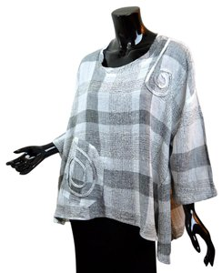 Transparente European Lagenlook Layering Plaid Linen Blend Top Gray