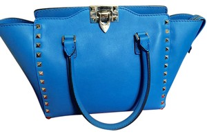 Valentino Studded Leather Calfskin Handle Blue, Electric Light Blue Clutch