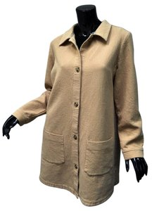 Soft Surroundings 100% Cotton Textured Tunic Pleated Chore Beige Jacket