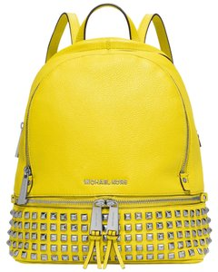 Michael Kors Mk Rhea Rhea Studded Leather Mk Studded Leather Mk Yellow Backpack