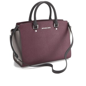 Michael Kors Mk Selma Saffiano Leather Merlot Satchel in Merlot/Cinder/Black Silver hardware