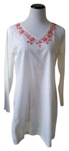 Liz Claiborne White beachy cotton adorned with pink flower beading.