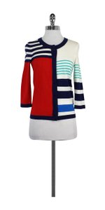 Kate Spade Red Blue Cream Colorblocked Striped Cardigan