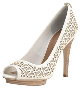 Tory Burch Regan Monogramed Platform Heels Off White Pumps