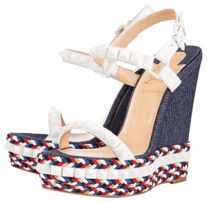 Christian Louboutin Red, white, blue Wedges