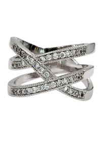 Ocean Fashion Gleaming crystal silver ring