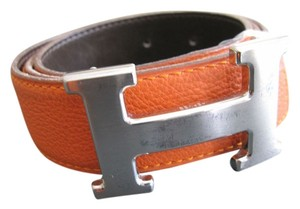 Hermès AUTHENTIC VINTAGE 32MM/75CM CONSTANCE REVERSIBLE HERMES BELT KIT SILVER BUCKLE BROWN/ORANGE