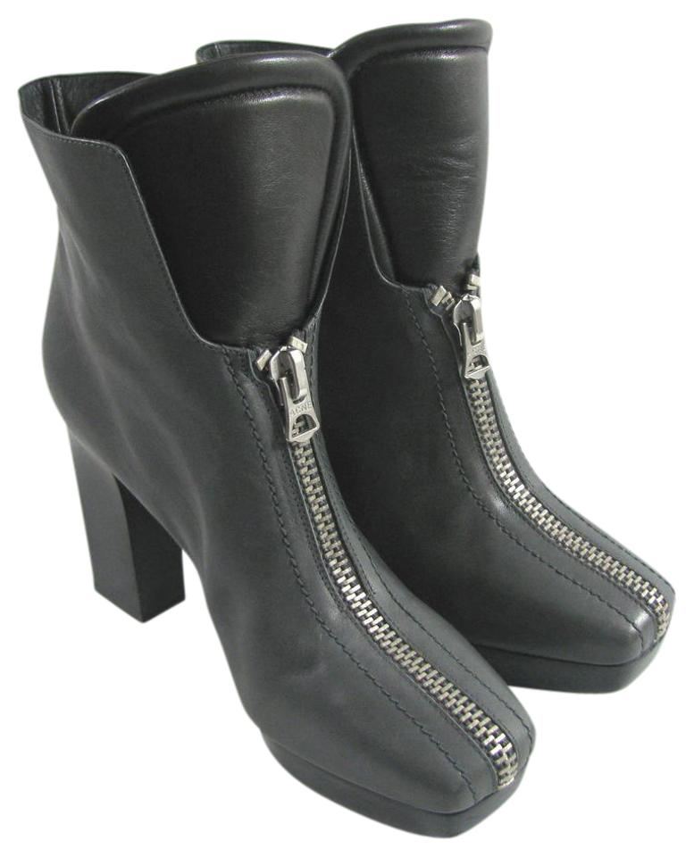 newest 93fb6 2792b Acne Studios Gray Black Ankle Zip Leather Boots/Booties Size US 10 Regular  (M, B) 75% off retail