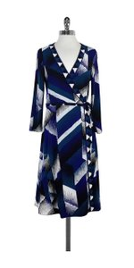 BCBGMAXAZRIA short dress Blue Black White Print Wrap on Tradesy