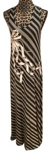 Black & Gray Maxi Dress by Ted Baker Maxi Striped Stretchy