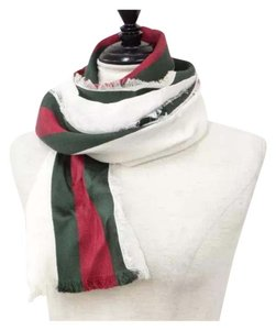 Gucci green red white stripes GG monogram silk cotton muffler long scarf