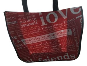 Lululemon Tote in Red and white with a black handle