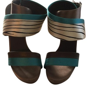 Balenciaga animal print, turquoise, brown Sandals