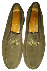 Gucci Suede Loafers Horse Bit Brown Flats