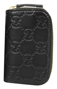 Gucci Guccissima Leather Zip Around Coin Wallet Black/Brown 324801 2038
