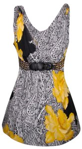 Sky Silk Sexy Spring Paisley Stretchy Black, White, Yellow Halter Top