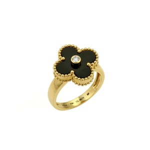 Van Cleef & Arpels Van Cleef & Arpels Vintage Alhambra Diamond Onyx 18k Yellow Gold Ring