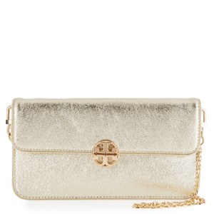 Tory Burch Metallic Gold Hardware Chain Strap Clutch