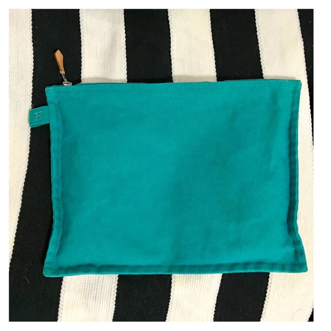 Item - Turquoise Canvas Flat Case Small Cosmetic Bag