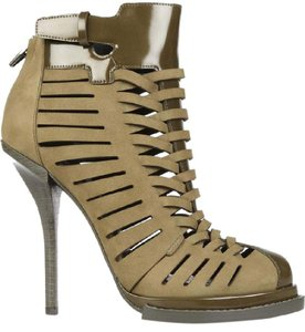 Alexander Wang Patent Leather Suede Leather Strappy Cut-out Green Boots