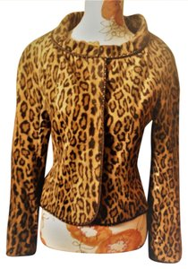 Moschino Crop Night Out Tan Animal Print Jacket