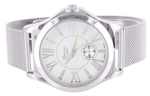 Geneva White Gold Tone Watch Geneva Platinum Mesh Band Analog Steel Back