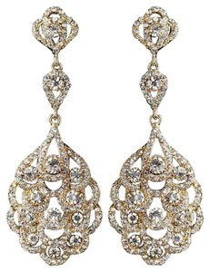 Elegance By Carbonneau Gold Clear Rhinestone Chandelier Earrings