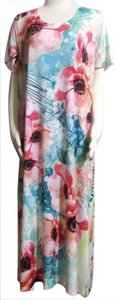 Teal, Pinks, Red, Oranges etc. Maxi Dress by Cal Style New Stretch Knit Sheath